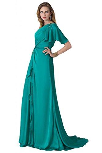 sunvary One para el hombro One de manga corta Madre de tafetán de vestidos de novia Prom Fiesta Hunter Verde