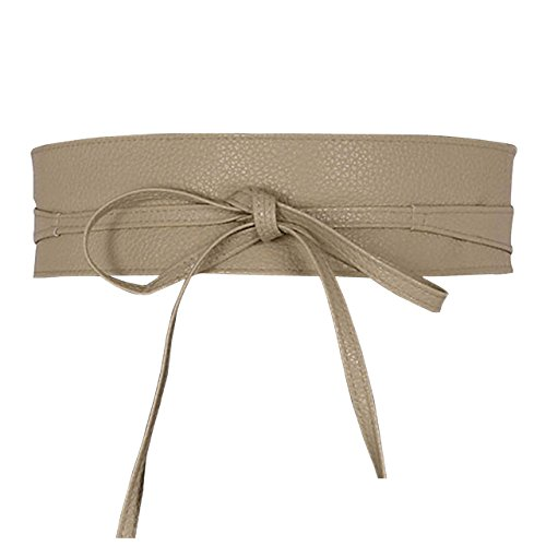- Ayliss Women Soft Leather Obi Belt Self Tie Wrap Cinch Belt,Beige
