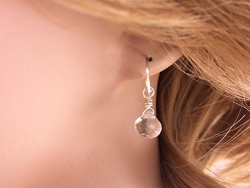 Crystal Quartz Earrings Sterling Silver Bridal Wedding - Quartz Earrings Clear