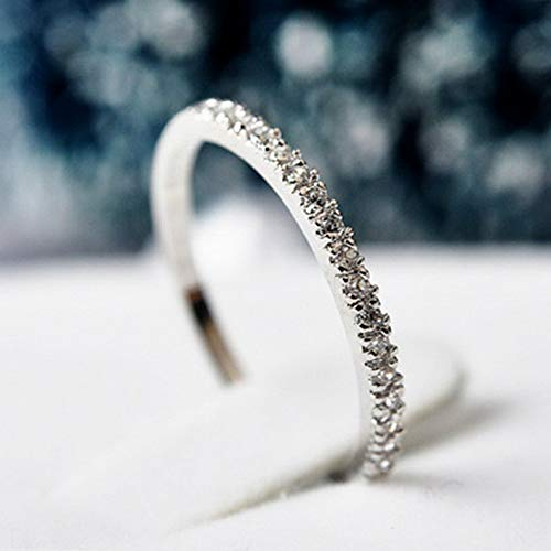 - Wausa Ultra-fine Tail Ring 925 Silver Women Wedding Party CZ Engagement Band Size 4-9 | Model RNG - 23622 | 9