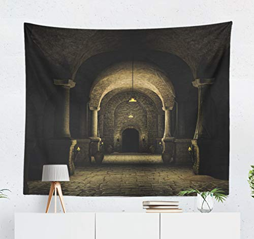 (KJONG Dark Medieval Castle Castle Medieval Fantasy Dark Old Torch Stone Decorative Tapestry,60X50 Inches Wall Hanging Tapestry for Bedroom Living Room)