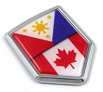 Canada Philippines Flag Canadian Philippinian Car Chrome Emblem
