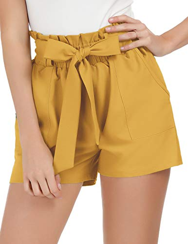 GRACE KARIN Women High Waist Solid Summer Casual Shorts L Yellow ()
