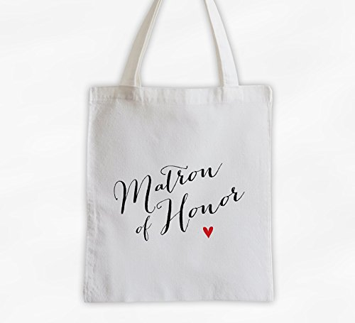 Matron of Honor with Heart Cotton Canvas Tote Bag - Handwritten Script Bridal Party Attendants Gift (3013-TH) ()