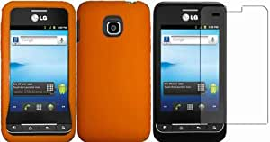 Orange Silicone Jelly Skin Case Cover+LCD Screen Protector for LG Optimus 2 AS680