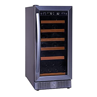 SMAD 28 Bordeaux Bottle Stainless Steel Freestanding or Built in Wine Cooler, Single Tempered