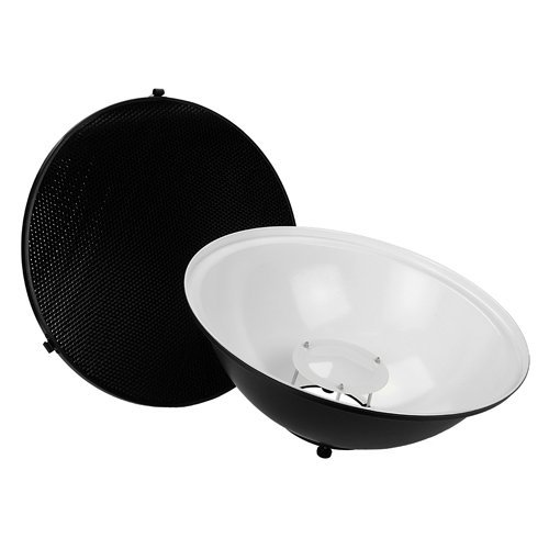 Fotodiox Pro Beauty Dish 18'' with Honeycomb Grid and Speedring for Balcar, White Lightning, X800 Strobe & More by Fotodiox