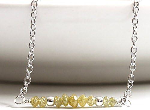 Collar de diamante auténtico, diamante amarillo natural, plata de ley 925, diamante de fantasía, preciosa piedra, piedra de nacimiento de abril, regalo para esposa de 2 mm a 2,8 mm