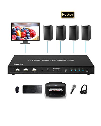 XtremPro 2x1 / 4x1 KVM HDMI Port 1.4 & USB Type B w/ 2 Channels Switch w/USB Type A 2.0 Keyboard, Mouse, Console, Audio & Microphone Port for Window, Mac, Linux, Game Consoles, DVD etc- Black (4 x 1)