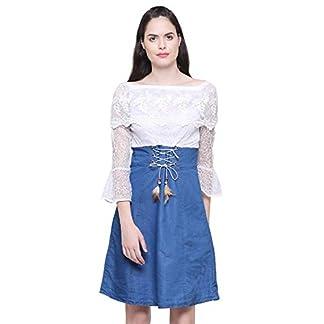 C.Cozami Women's Solid Casual Denim Dark Blue Off Shoulder Dress 41TMggkPipL