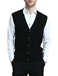 "<span class=""a-offscreen"">[Sponsored]</span>Relaxed Fit Mens Cable Stripe V Neck Vest Sweater Cashmere Wool Blend Front Button Down"