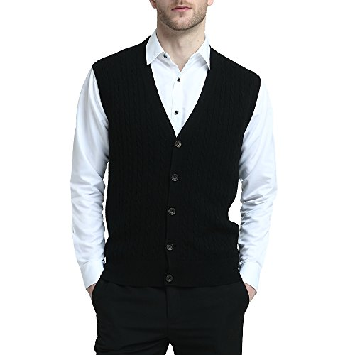 Kallspin Relaxed Fit Mens Cable Stripe V Neck Vest Sweater Cashmere Wool Blend Front Button (Black, M)