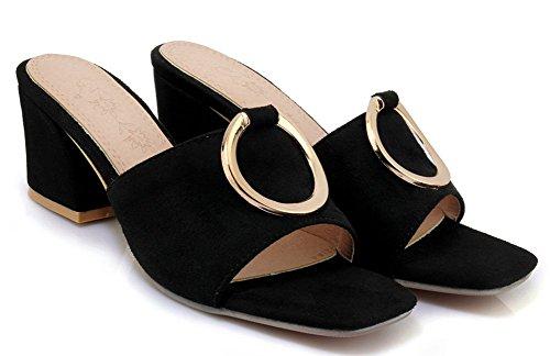 Mules Bout Femme Easemax Ouvert on Métallique Slip Noir Simple R0nnqxA