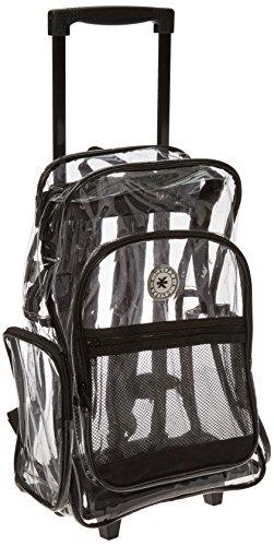 204ce001933d Clear Rolling Student Backpack Kids Transparent School Book Bag, Black
