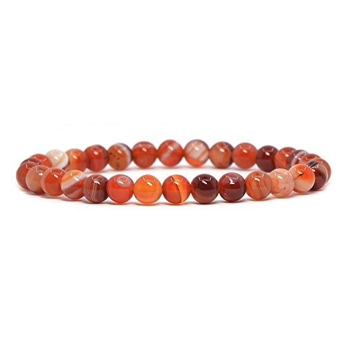 (Red Sardonyx Agate Gemstone 6mm Round Beads Stretch Bracelet 6.5