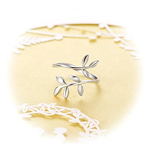 SHEGRACE 925 Sterling Silver Leaf Ring, Cuff Ring with Platium Laurel Wreath, Holiday Gift (Rings Cheap Silver)