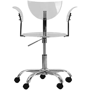 clear office chair on wheels uk transparent acrylic adjustable swivel canada