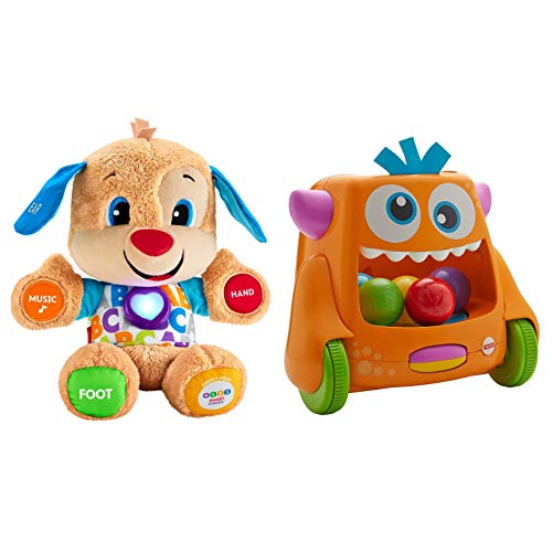 Fisher-Price Island Time Brands Bundle Includes 2 Items Zoom 'n Crawl Monster Laugh & Learn Smart Stages Puppy