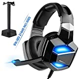 No Adapter Required, G-Cord USB Digital Gaming Headset with Stand, 7.1 Surround Sound Over-Ear Headphones with Noise Cancelling Microphone for PS4 PC Laptop, Soft LED Light, Full-Feature USB Decoding.