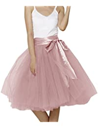 Women Knee Length Bowknot layered Tulle Party Prom Skirt