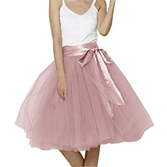 Lisong Women Knee Length Bowknot layered Tulle Party Prom Skirt 2 US Cameo Brown