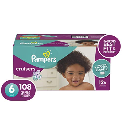 Pampers Cruisers Disposable Baby Diapers Size 6, 108 Count, ONE MONTH SUPPLY from Pampers