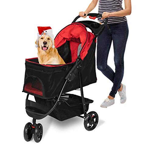 Kinsuite Pet Stroller Folding Portable Travel Cat Dog Carrier Strolling Car with Storage Basket and Cup Holder
