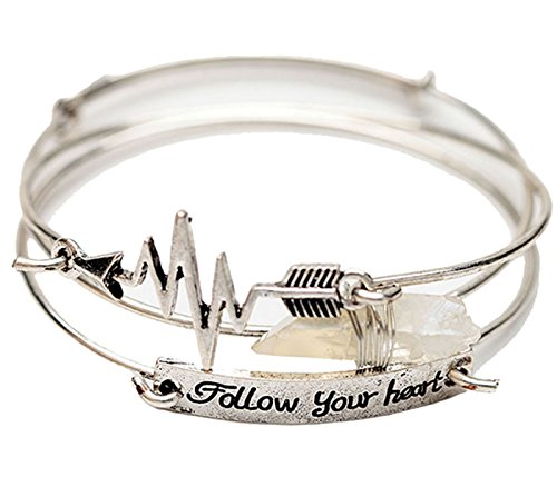 Your Heart Beat Arrow Natural Quartz Gemstone Stackable Cuff Bangle Bracelet for Women Girls, Ancient Silver Plated ()