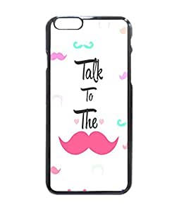 "Funny Girly Talk To The Mustache Bright Pink Heart Art Pattern Image Protective iphone 6 (4.7"") Case Cover Hard Plastic Case For iPhone 6 - 4.7 Inches"