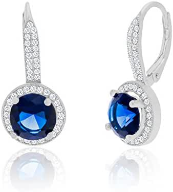 SPECIAL OFFER 18K White Gold Sterling Silver 11mm Round Halo Cubic Zirconia Lever Back Earring