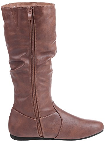 Women's Slouchy Flat Fashion Mid Boot Calf Brown Dress Enimay High Leather Casual Winter Ydwqx4g