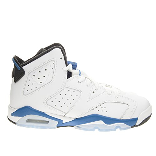 new photos 98899 4d422 Galleon - Nike Air Jordan 6 Vi Retro Grade School Boy Basketball Sneakers  White Black Sport Blue 384665-107 (Size  5Y)