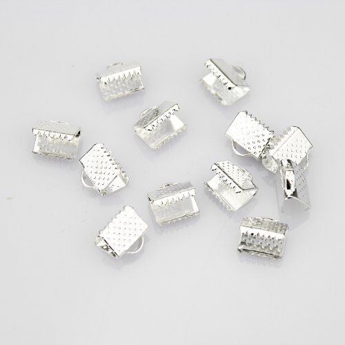 LolliBeads (TM) 10 mm Silver Plated Brass Ribbon Bracelet Bookmark Leather Pinch Crimps End Findings (50 Pcs)