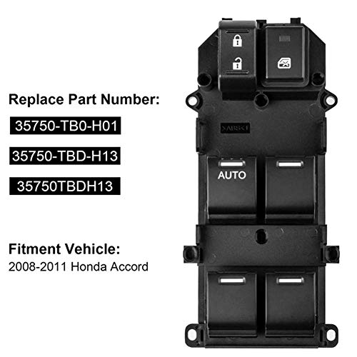 Bernard Bertha 35750-TB0-H01 Front Left Electric Power Window Lifter Master Control Switch for Honda Accord 2008-2011