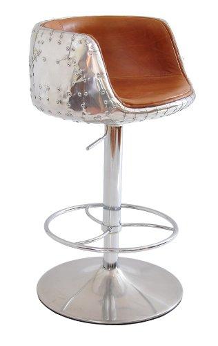 Barhocker Orkney Vintage-Leder Aluminium Sitzhocker höhenverstellbar ...