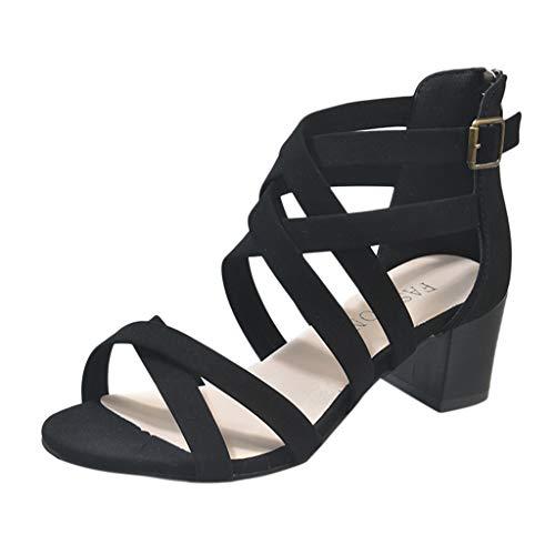(JJLIKER Women Gladiator Criss Cross Open Toe High Heels Buckle Ankle Strappy Cut Out Sandals Summer Shoes with Zipper Black)