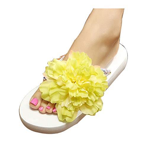 Femmes Tongs Plage YOUJIA Fleurs Blanc 2 Plateforme Compensées Boho été Sandales Vert dAxwtZ6qnw