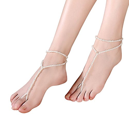 Beaded Sandal Pair Barefoot 1 of Cougars Beach wedding Barefoot Sandals Choice® BFnIvxx1