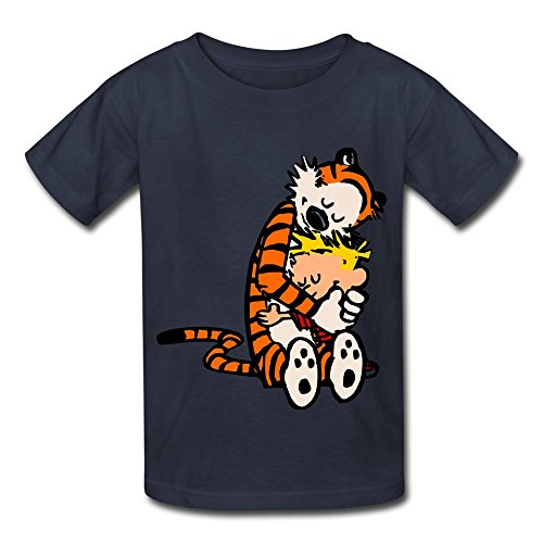 Price comparison product image Kids Boys Girls Tshirt Thomas Calvin And Hobbes Tiger Anime Navy Size M