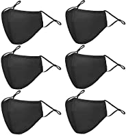 Reusble Cotton Cloth Face Mask 6 Pcs 3 Ply Black Washable & Breathable Protection Unisex Masks with Adjust