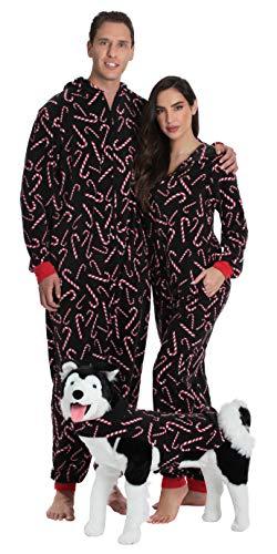 #followme Family Pajamas Candy Cane Microfleece Womens Adult Onesie 6755-10179-L (Christmas Wife Jammies)