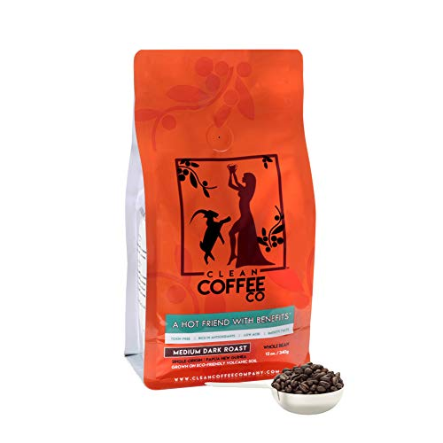 Clean Coffee Co Whole Bean Coffee, Medium Dark Roast, 12 Ounce Bag, Single-Origin, Toxin-Free, Rich In Antioxidants, Low Acid, Smooth Taste (Coffee Mold Beans Free)