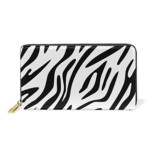 Women Wallet Purse Zebra Skin Print Abstract Clutch Bag Zipper Leather