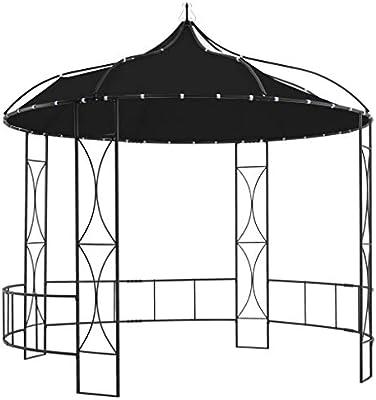 vidaXL Cenador Redondo Carpa de Jardín Tienda al Aire Libre Espacioso Marquesina Exterior Terraza de Hogar Gazebo Barbacoas Tipo Gris Antracita: Amazon.es: Hogar