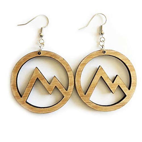 Grounded Goods Design Circle Mountain Cutout Wood Earrings (Beige/Alder)