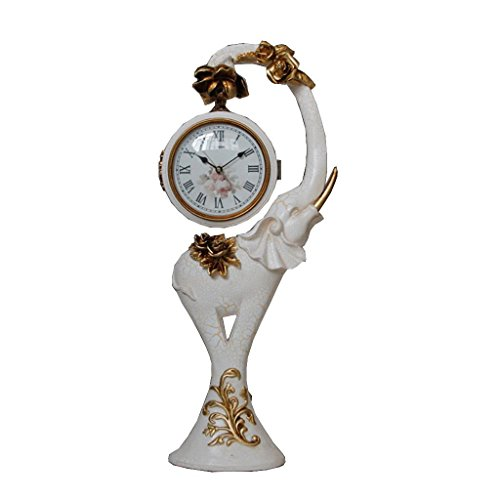 ZAZAZA Health UK Clock- Clock European Retro Elephant Resin Desk Clock Double-Sided Quartz Antique Art Mute TV Cabinet Sitting Clock Welcome by ZAZAZA