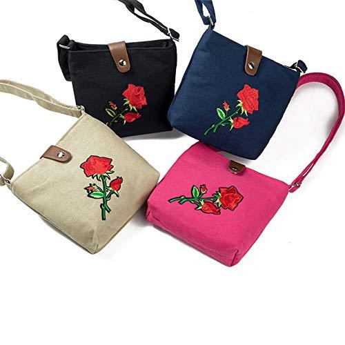 Summer Rose Embroidered Red 5cm Shoulder Size 18 Crossbody Bag Rose Beach Black Bag Lady Zippered Bag Handbags Zedo Shoulder 16 ASq0UwH