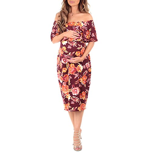 Women's Off Shoulder Ruffle Maternity Dress by Mother Bee – Made in USA (S, Floral Burgundy)