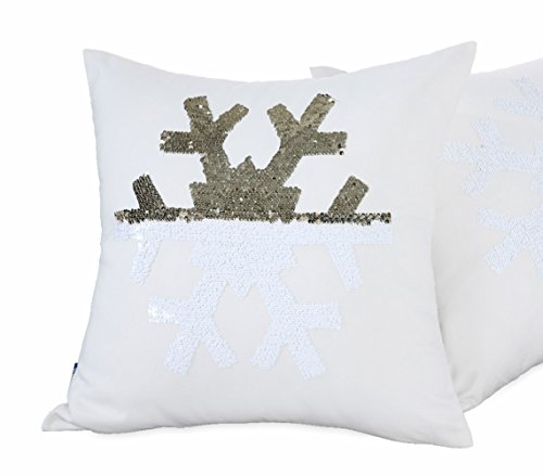 Aitliving Chirstmas Snowflake Reversible Sequins Pillow Cover 18