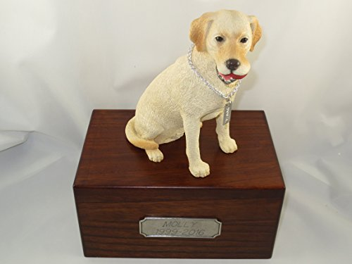 Beautiful Paulownia Medium Wooden Urn with Yellow Labrador Lab Retriever